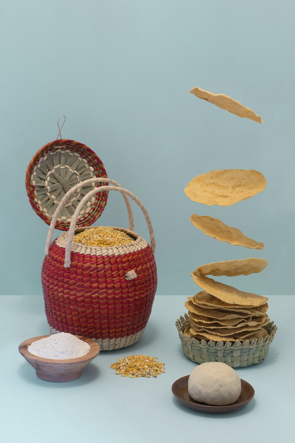 red and white wicker basket