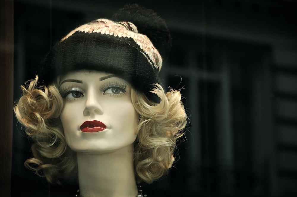 bobble hat on mannequin's head