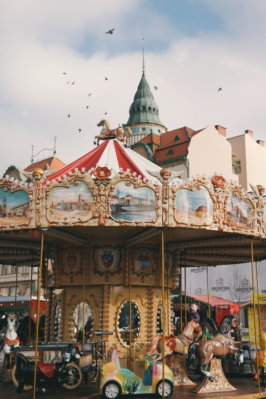 carousel ride under bright sky