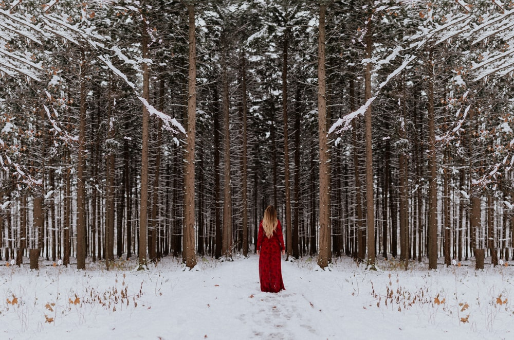 woman standing in front of forest