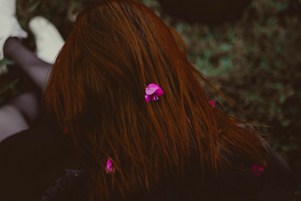 human hair with pink flowers