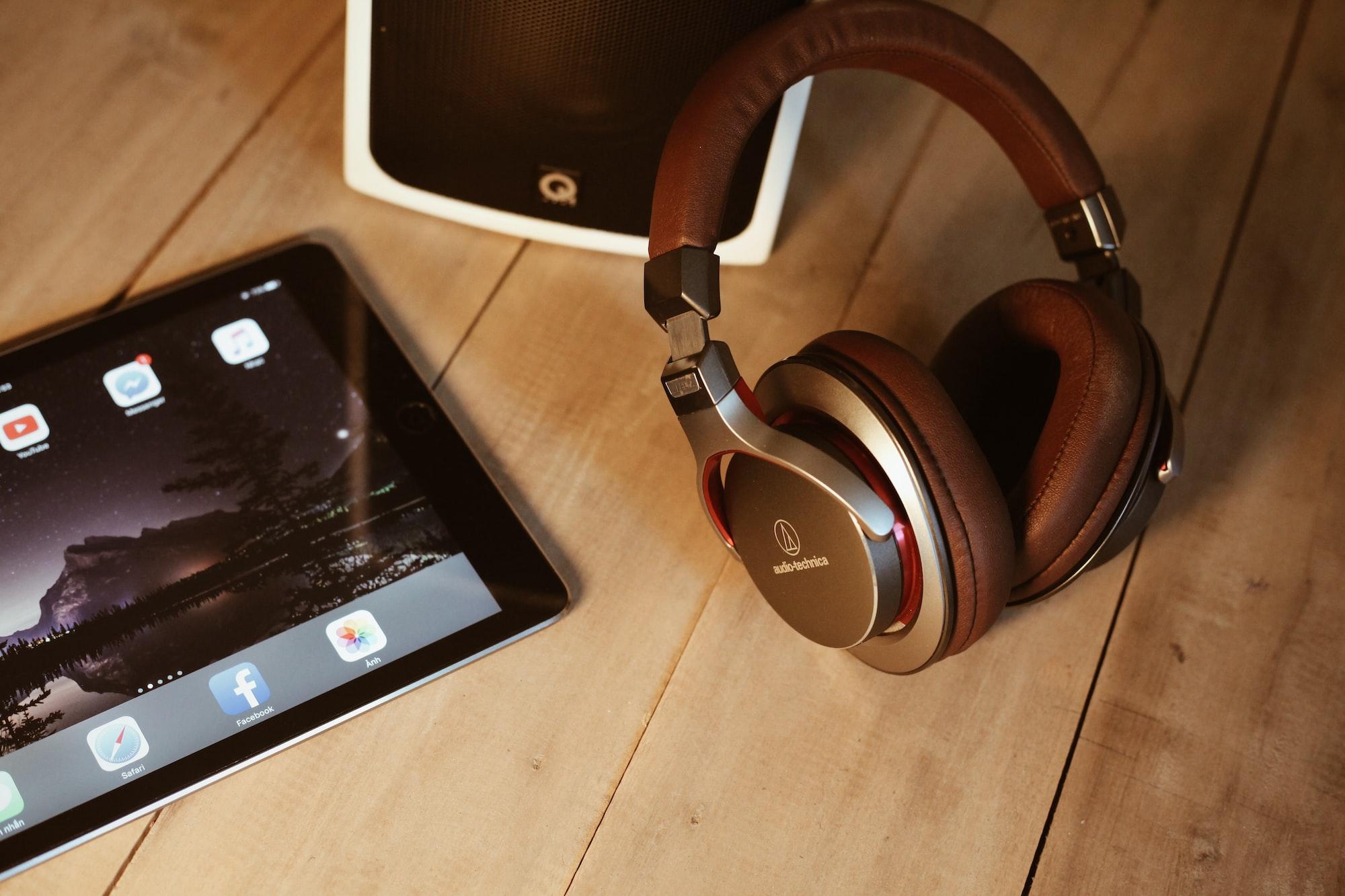 Brown headphones iPad