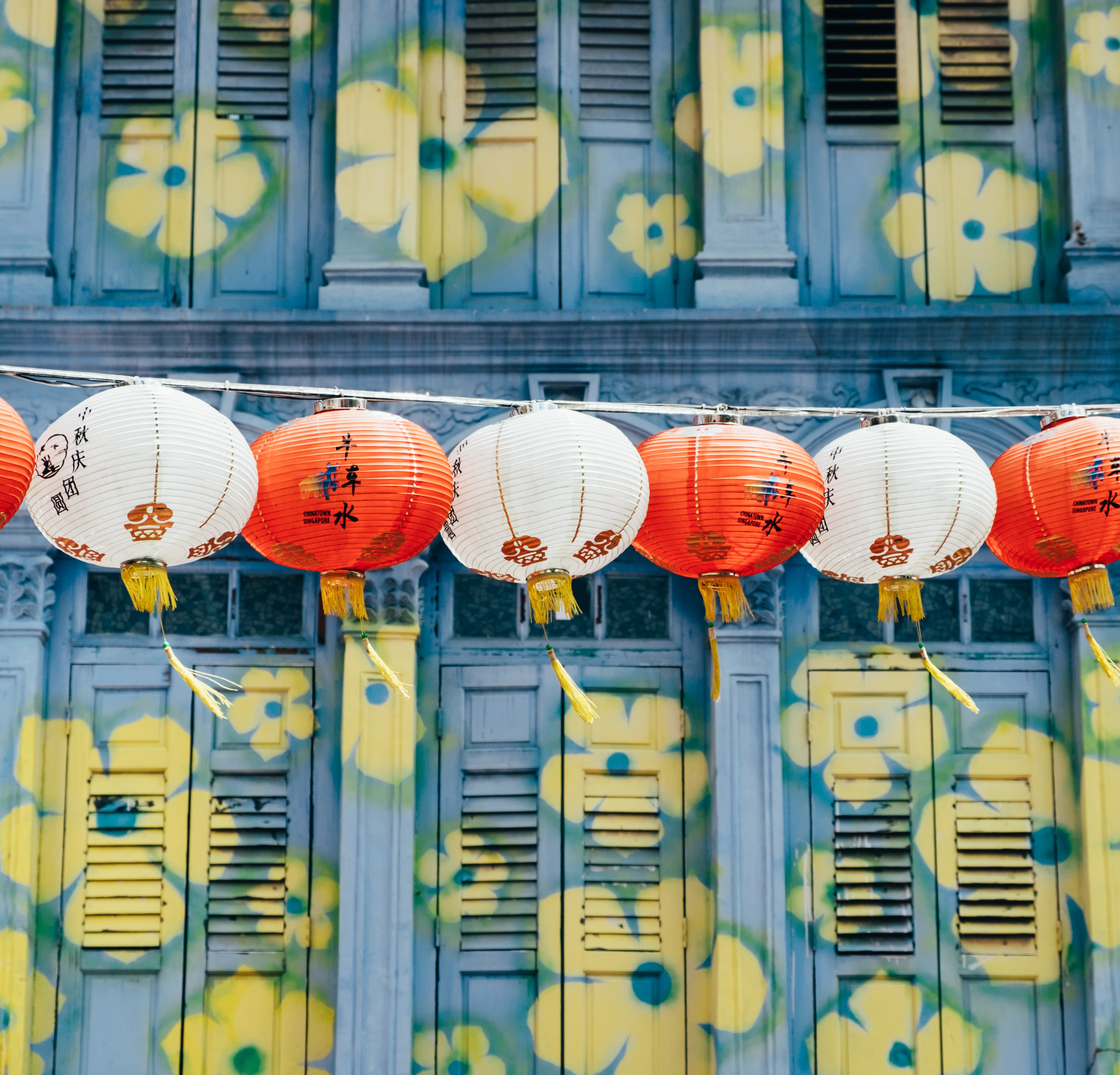 White and red paper lanterns by a wall painted a floral pattern