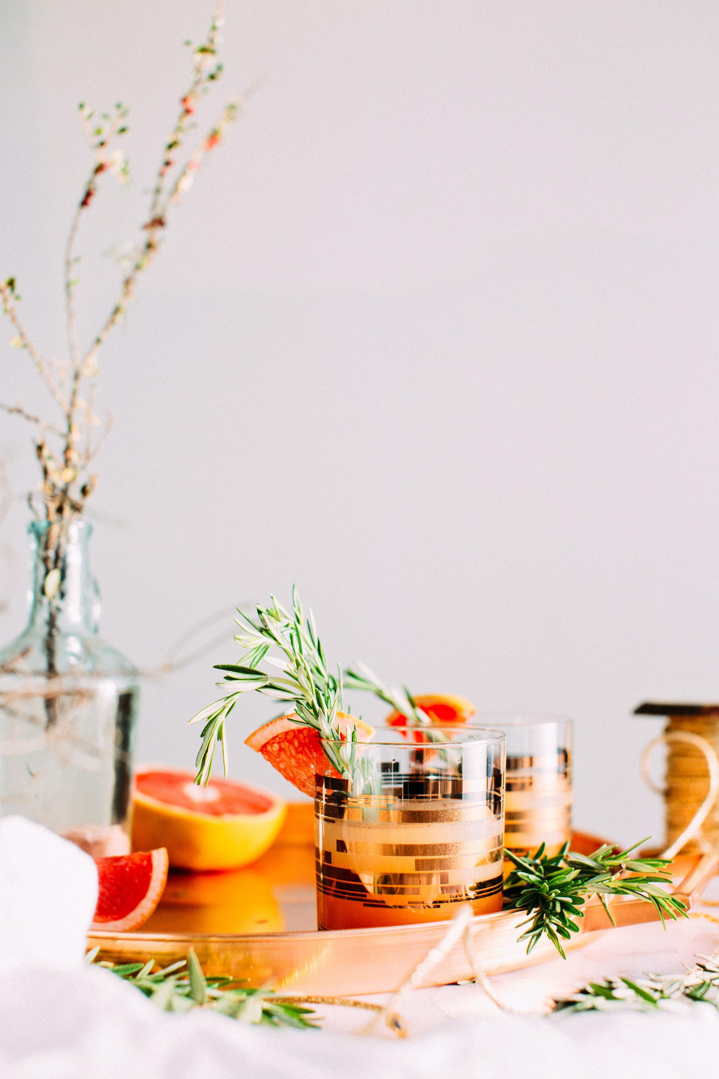 sliced citrus fruit on glass