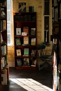 brown wooden shelf with assorted books
