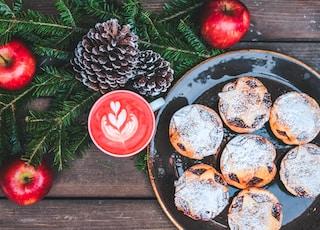 sweet pastries on black ceramic plate