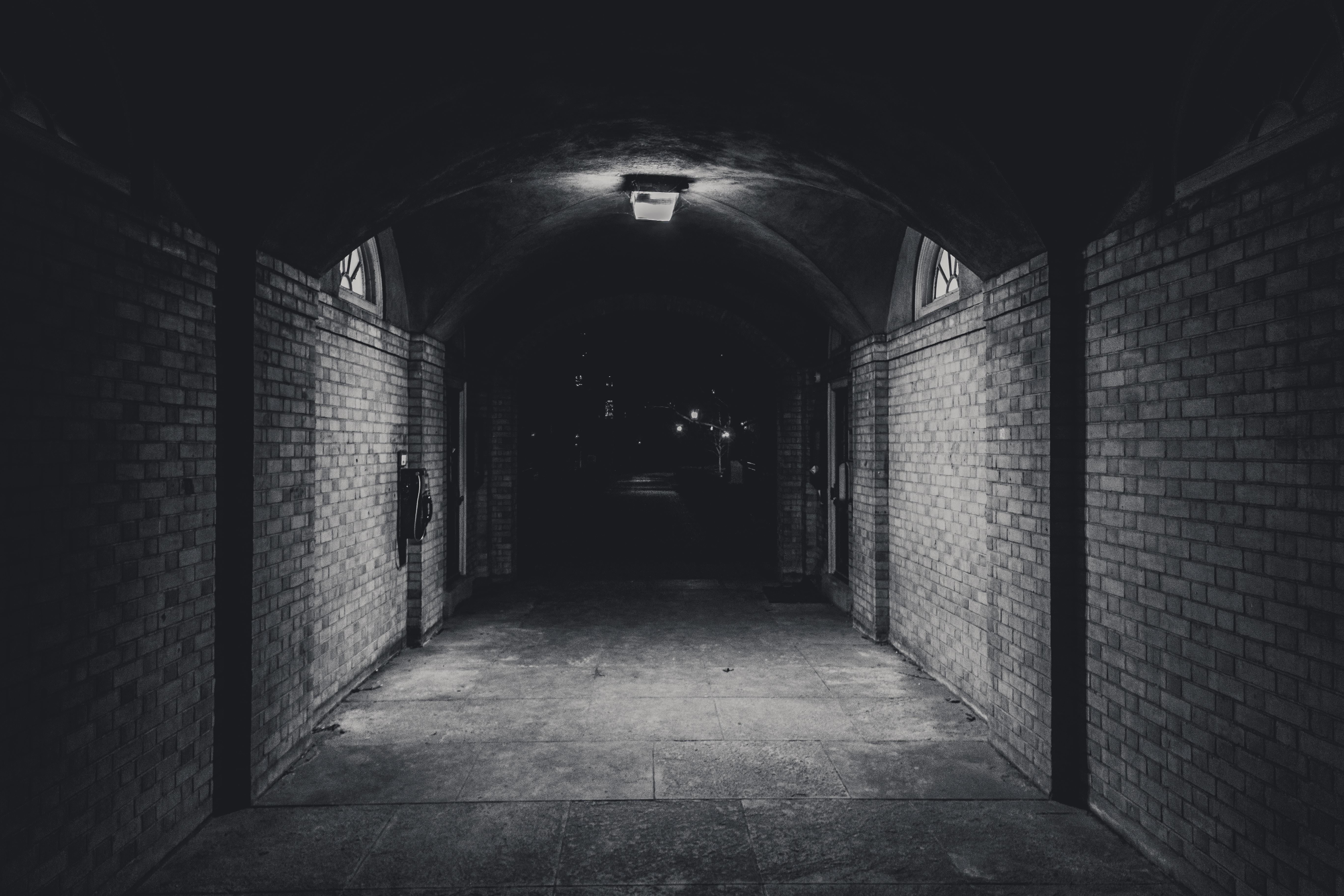 A dark underground pathway.