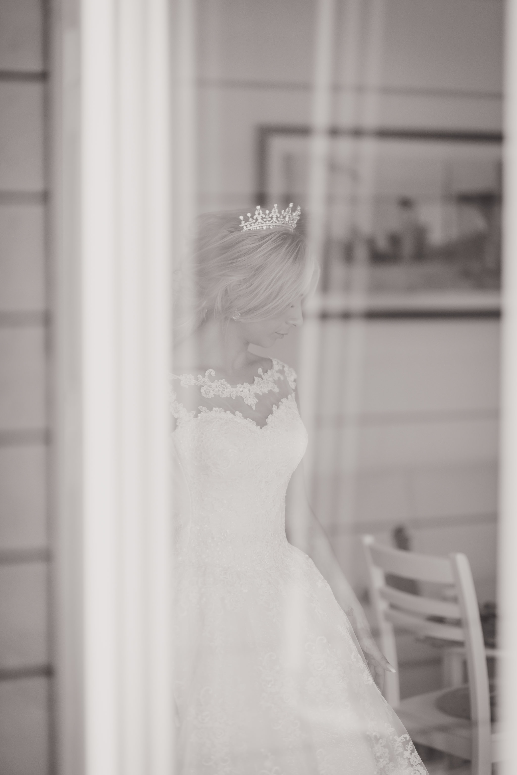 A woman in her wedding dress.