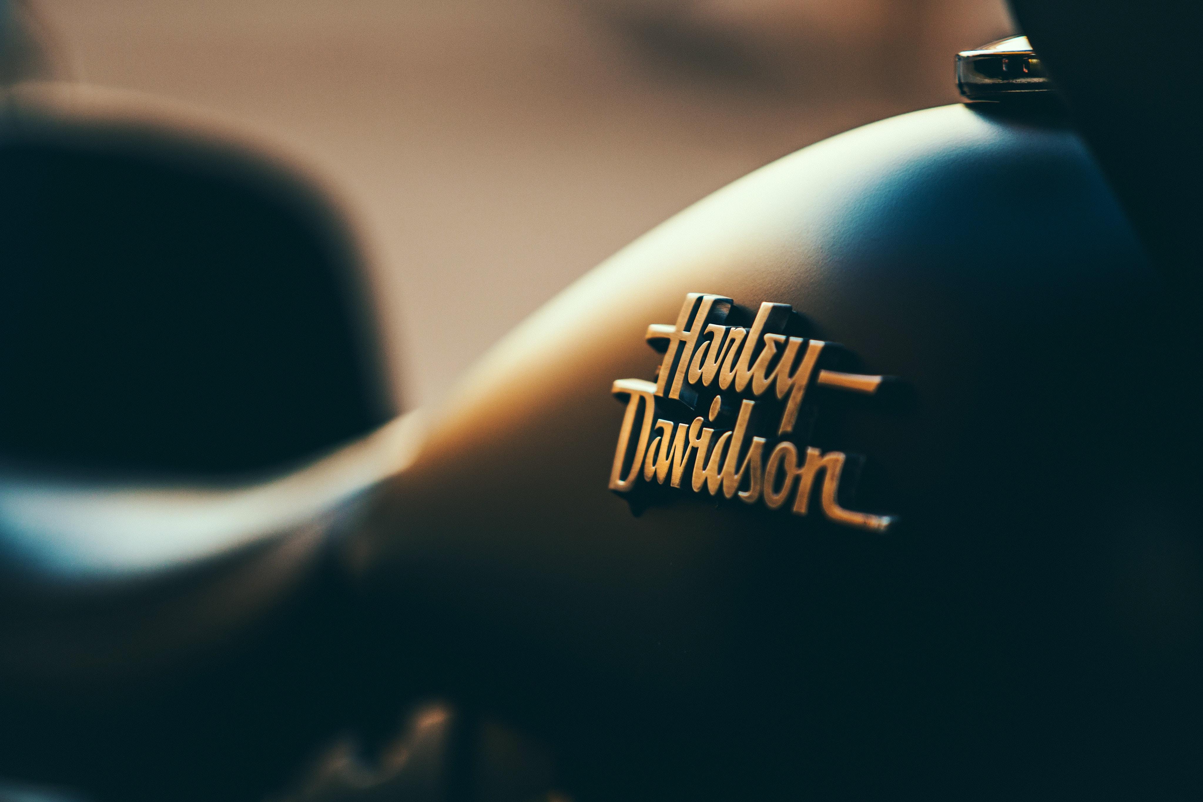 black Harley-Davidson motorcycle fuel tank