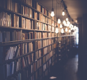 photo of library with turned on lights