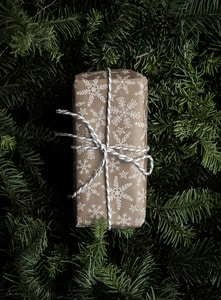 brown and white gift box