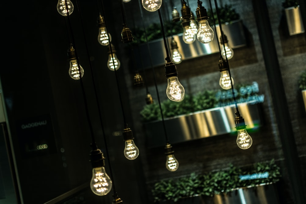 turned-on filament bulbs