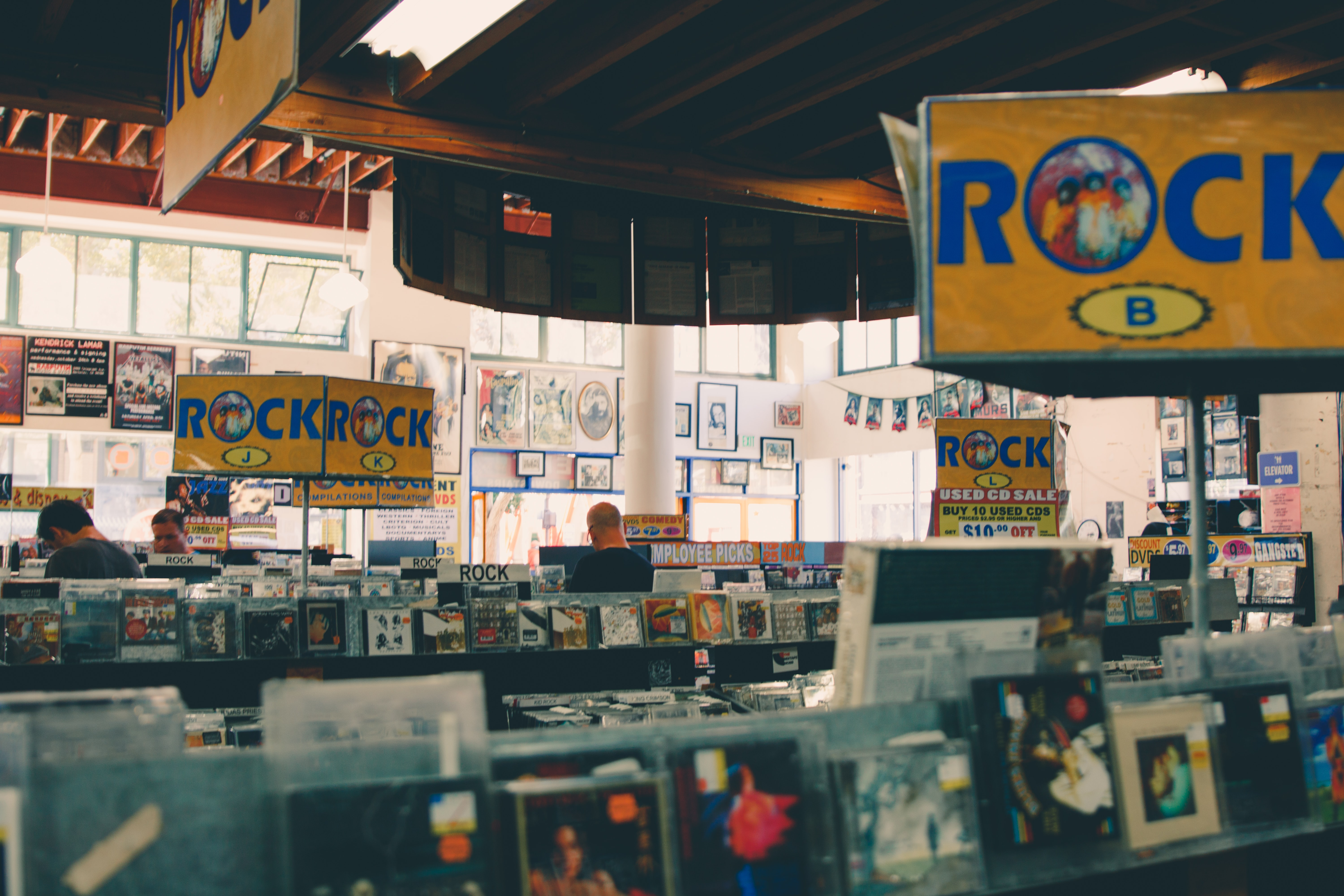 The interior of a record store