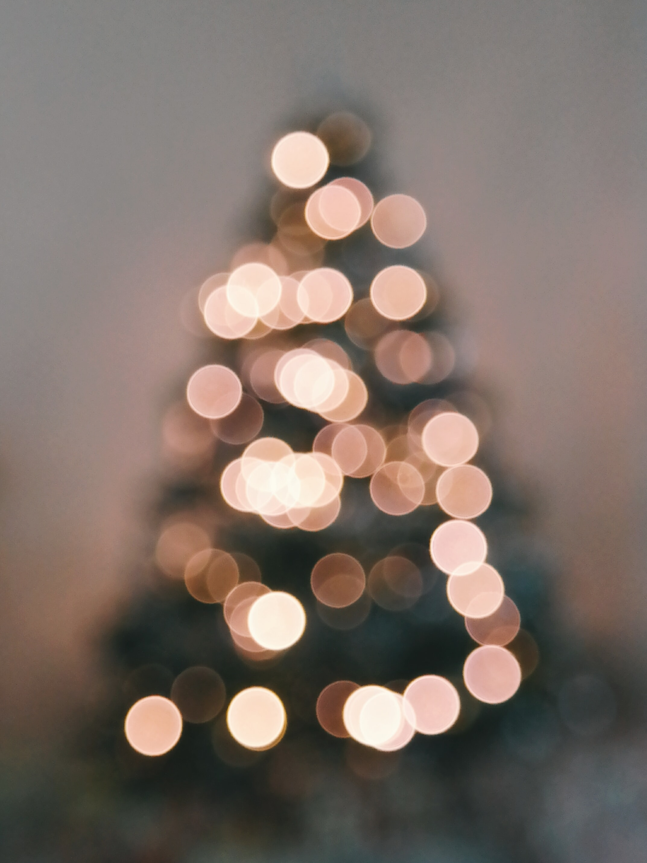 A blurred image of a lit up outdoor Christmas tree.