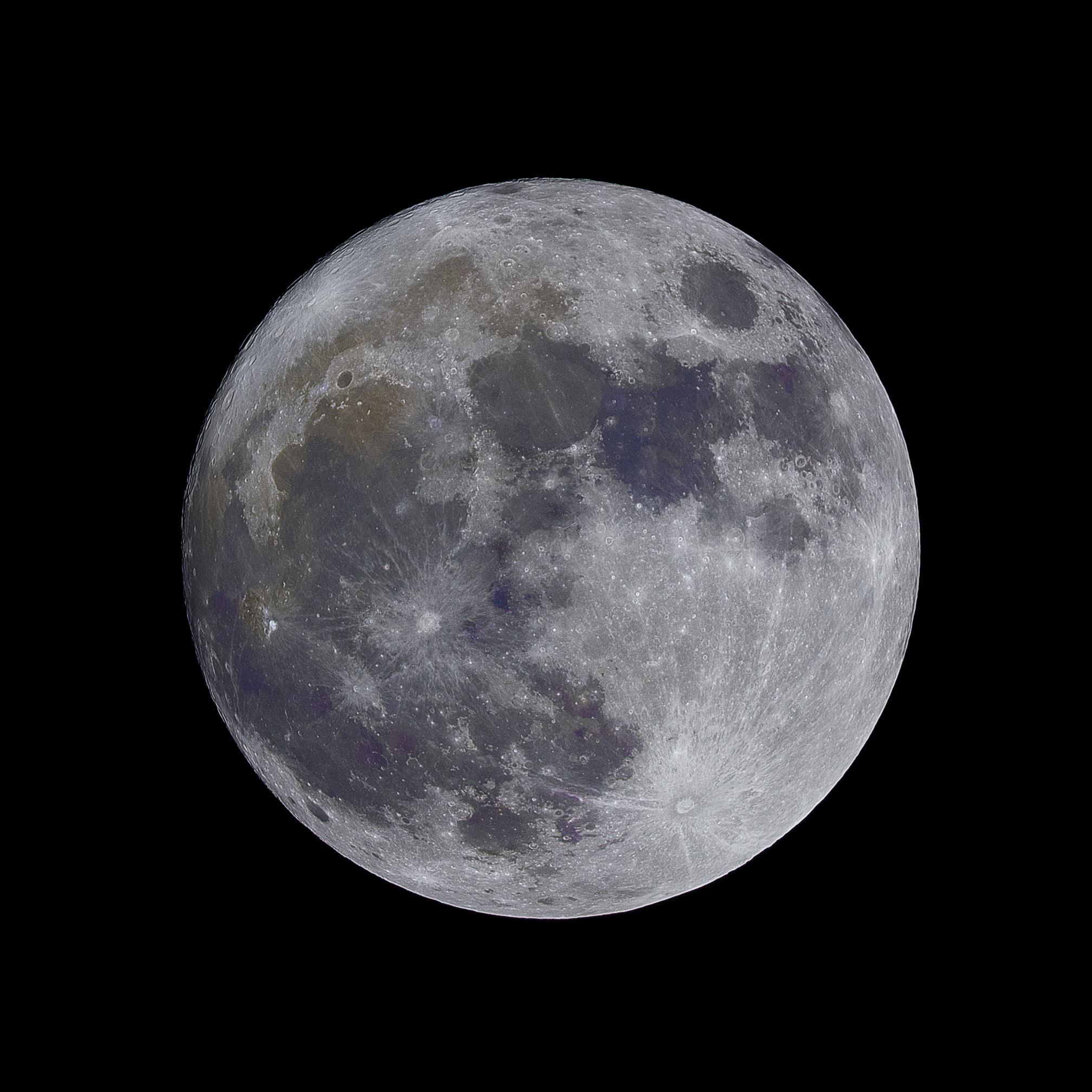 Lunar craters visible on the moon on the night sky at Popovec