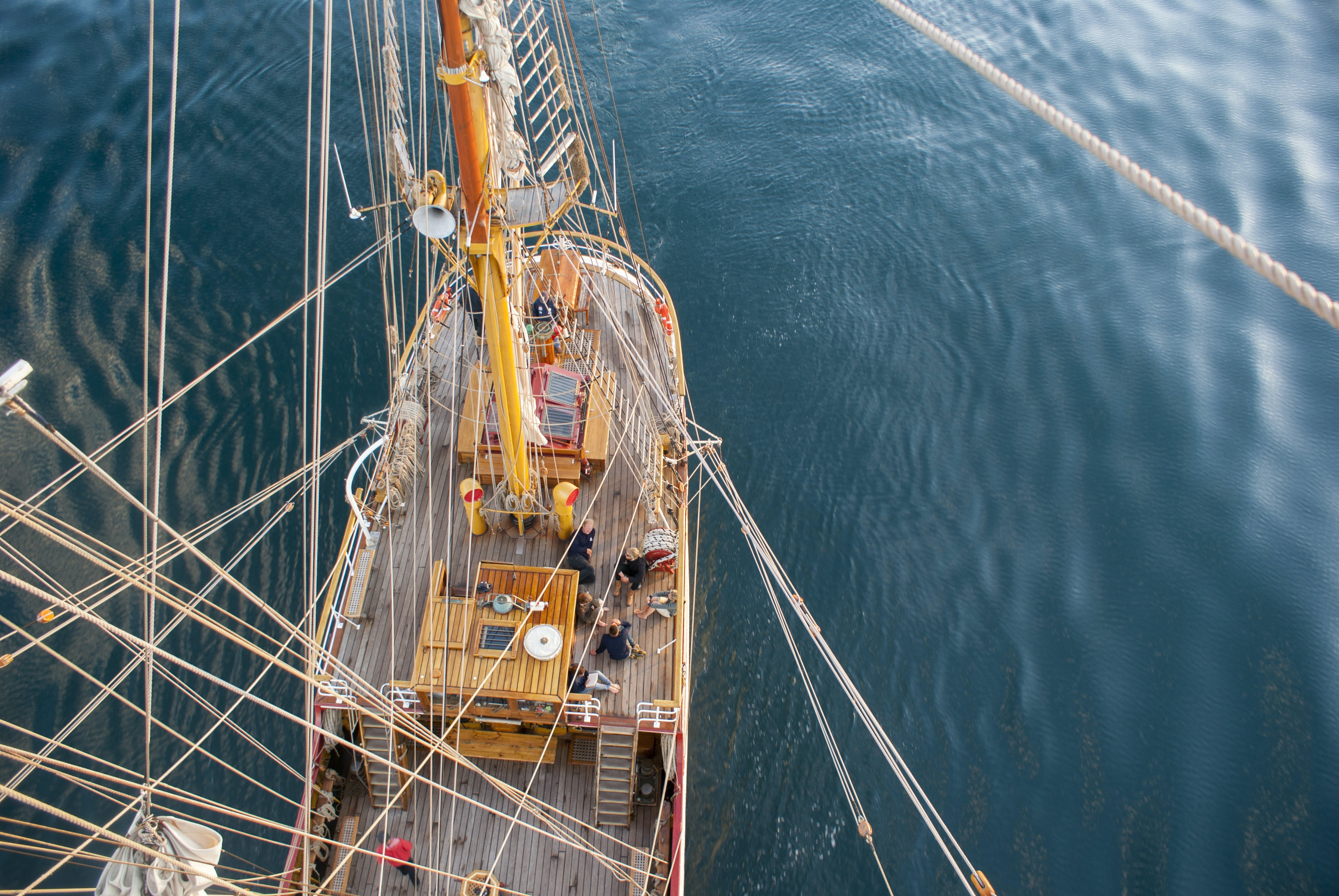aerial photography of ship on calm body of water at daytime