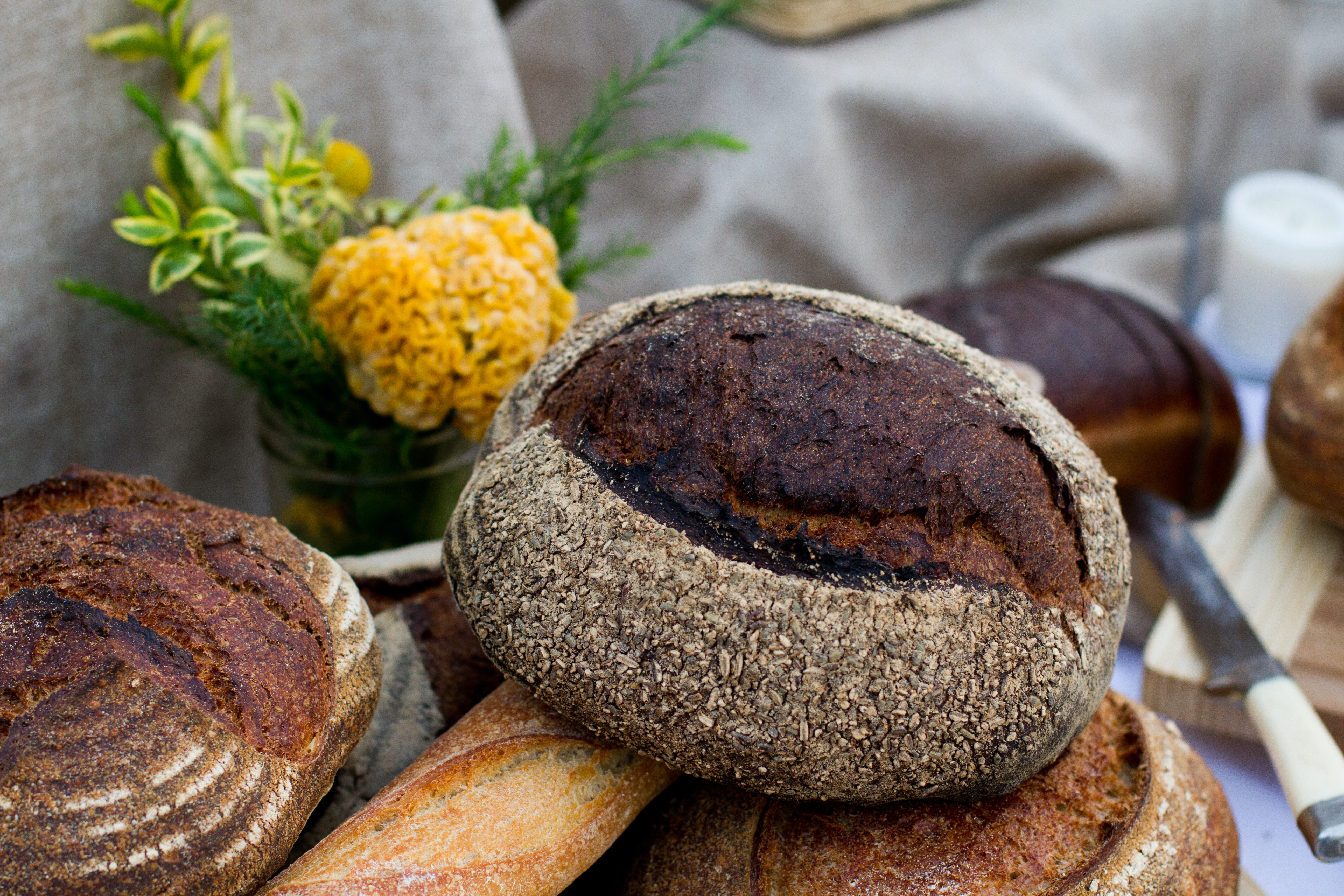 Loaves of artisanal bread and baguettes in Venice
