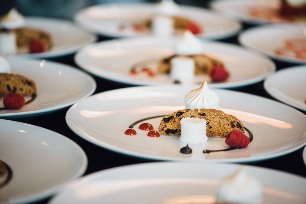 desserts served on white ceramic plates