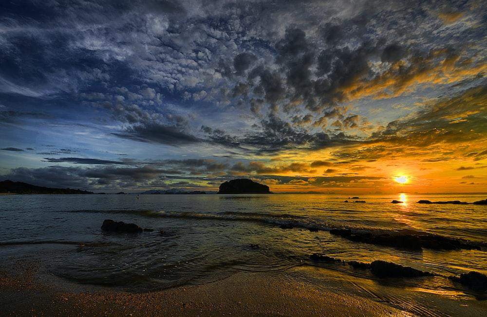 sunset under beach