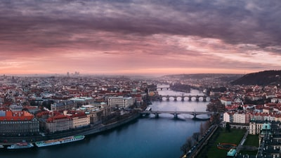 aerial photography of city under cloudy sky prague teams background