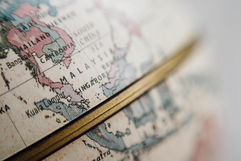 closeup photo of world globe
