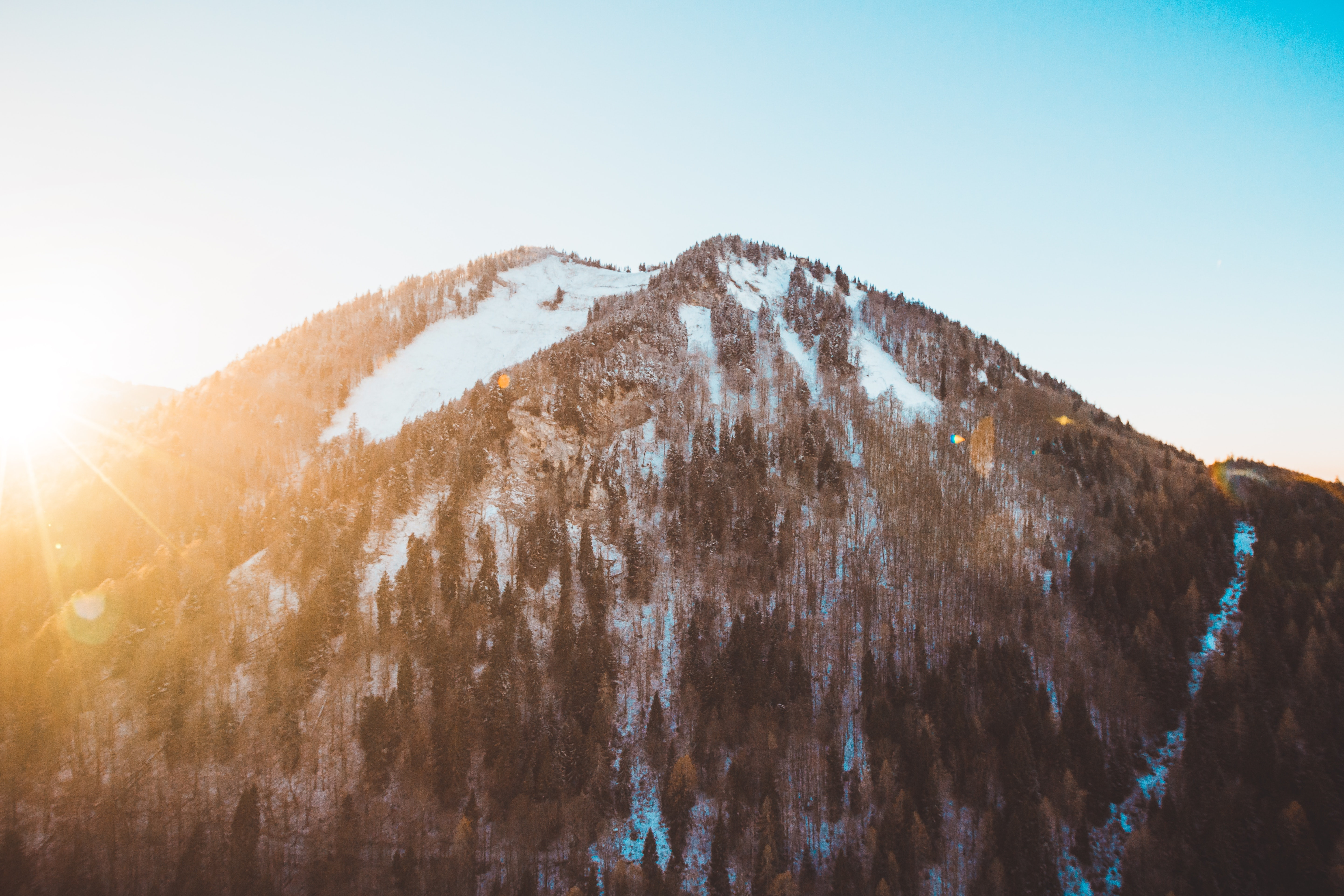 Morning sun over a wooded mountain slope in Saint Gilgen