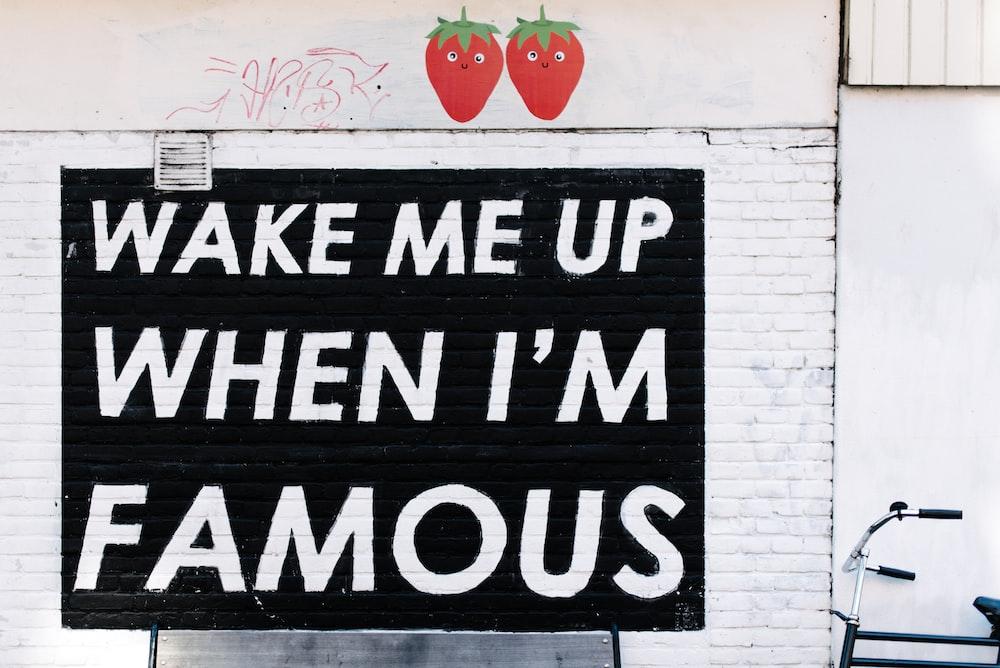 wake me up when i'm famous signage