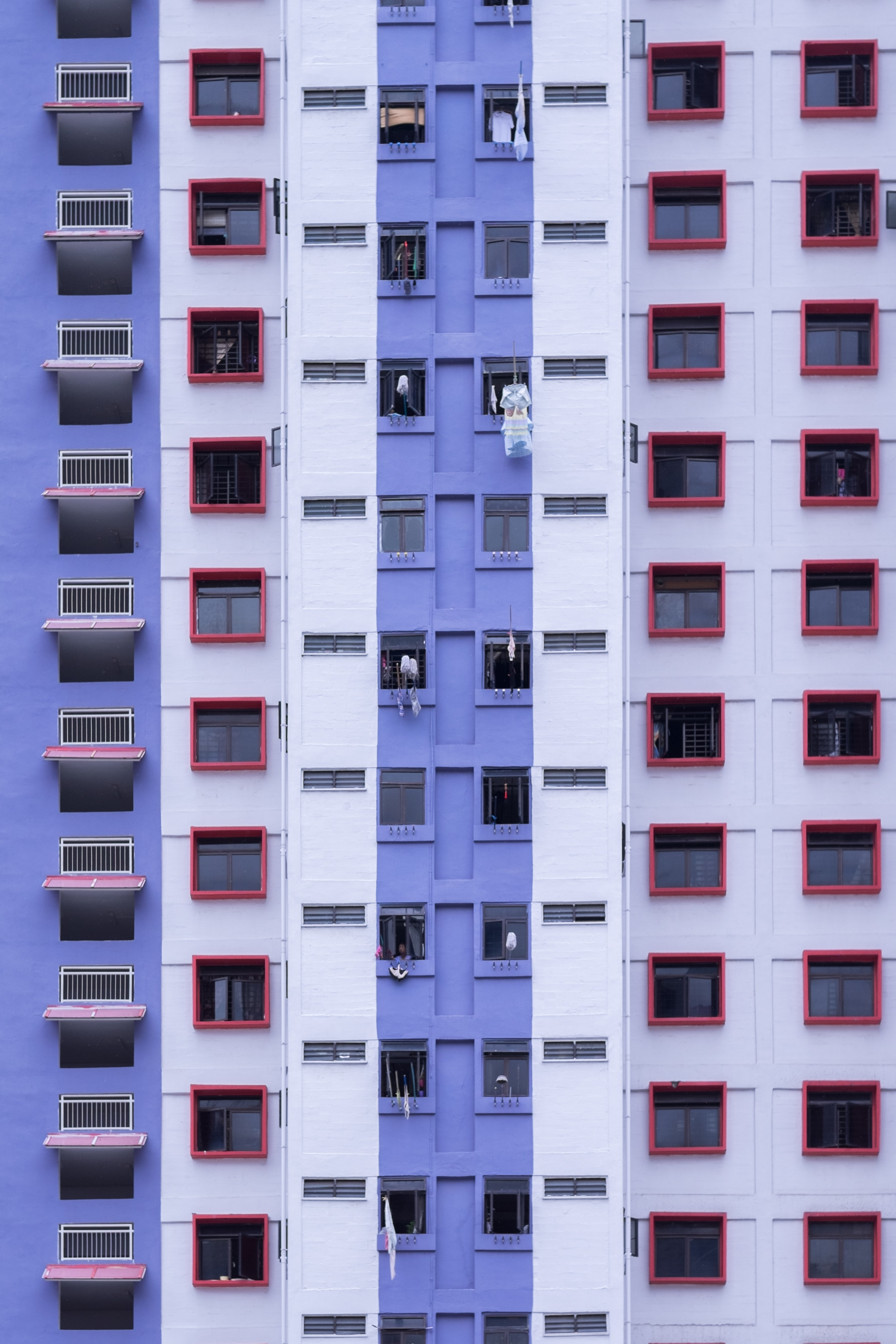 blue and white high-rise building