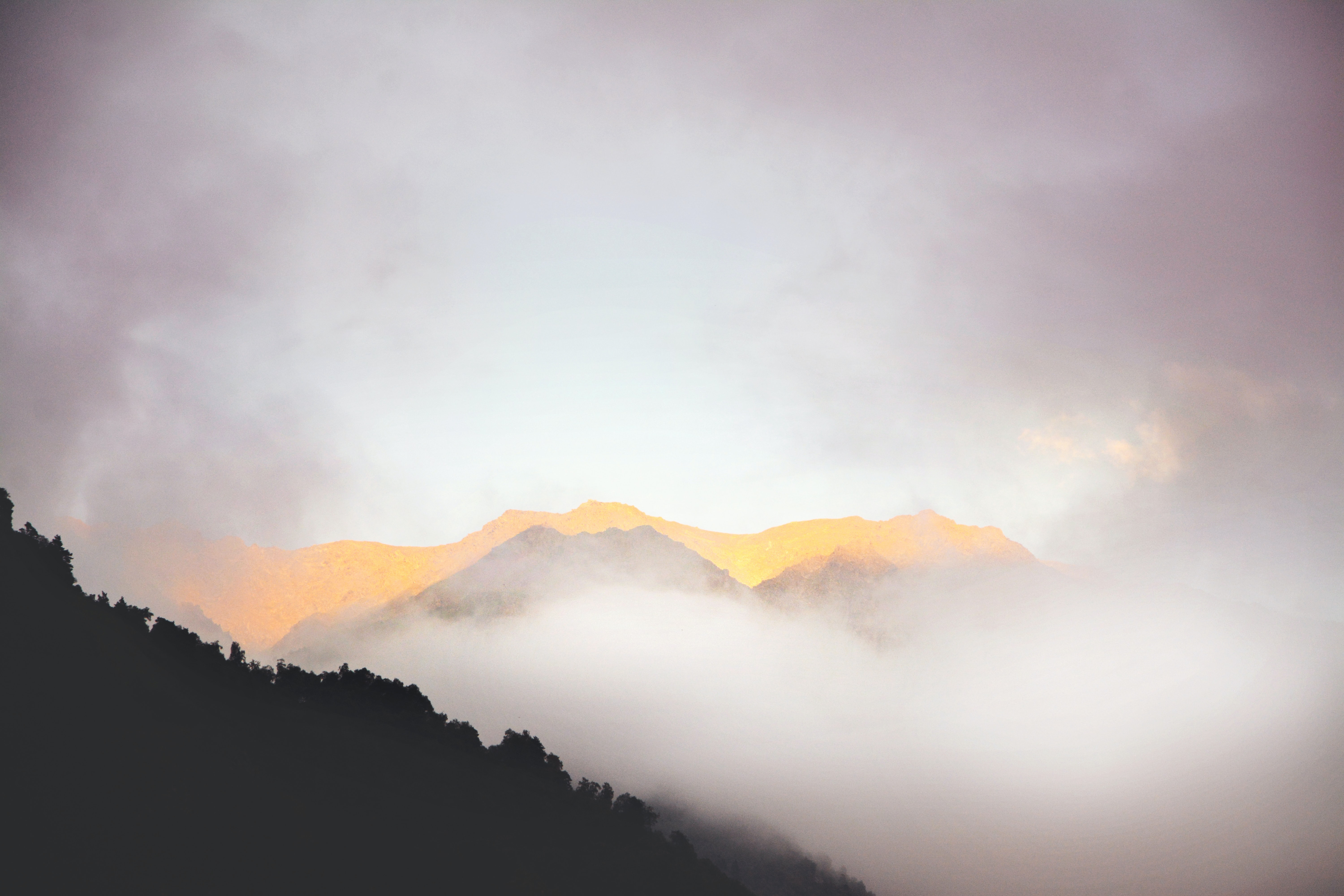 Fog covers misty mountains in Georgia