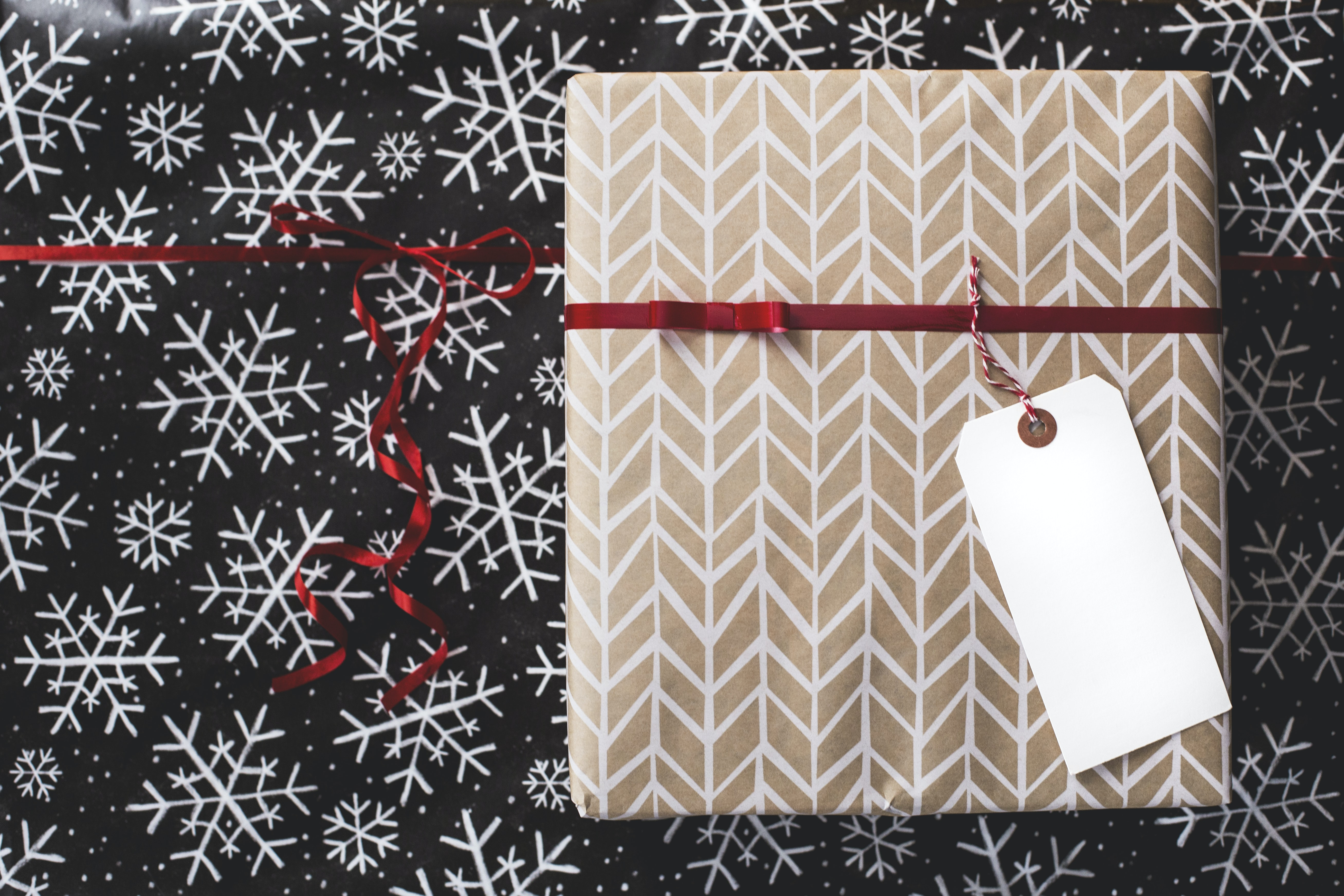 gold and white gift box on white and black fair-isle print surface