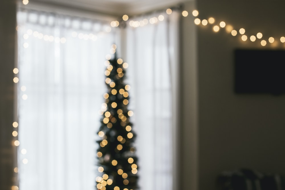 green Christmas tree with string lights turned on