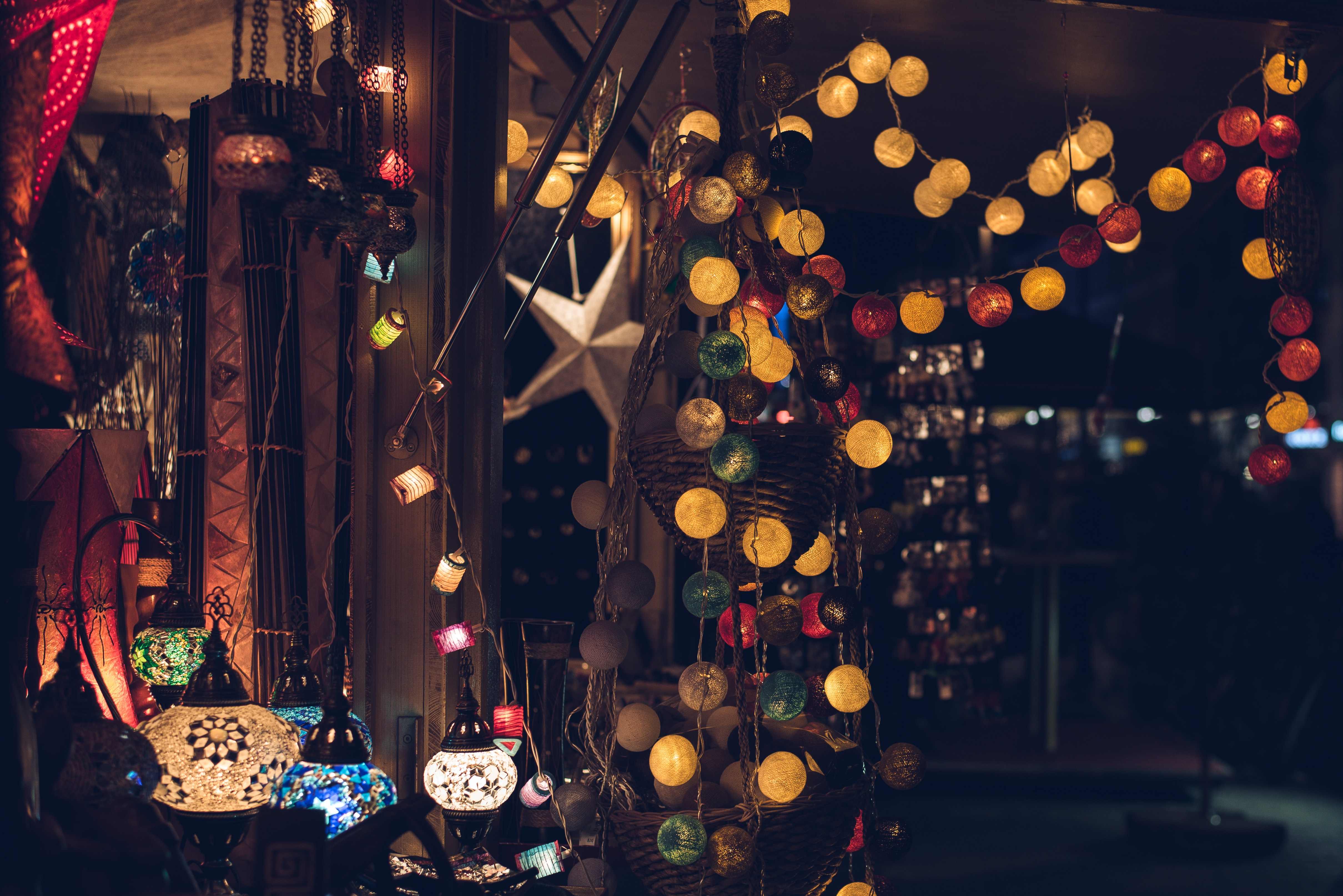 assorted-color string lights turned on