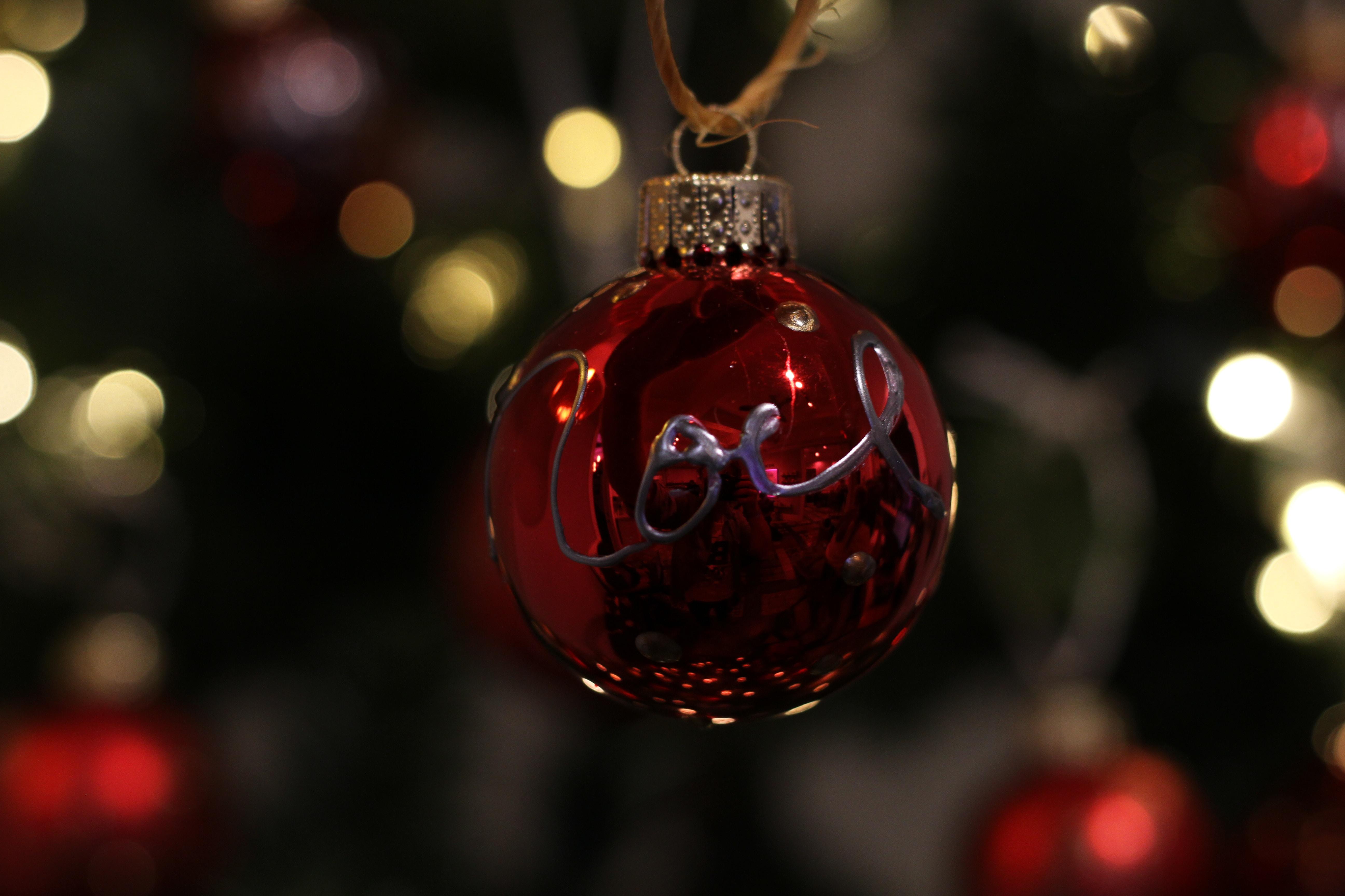 A red XMAS tree ornament.