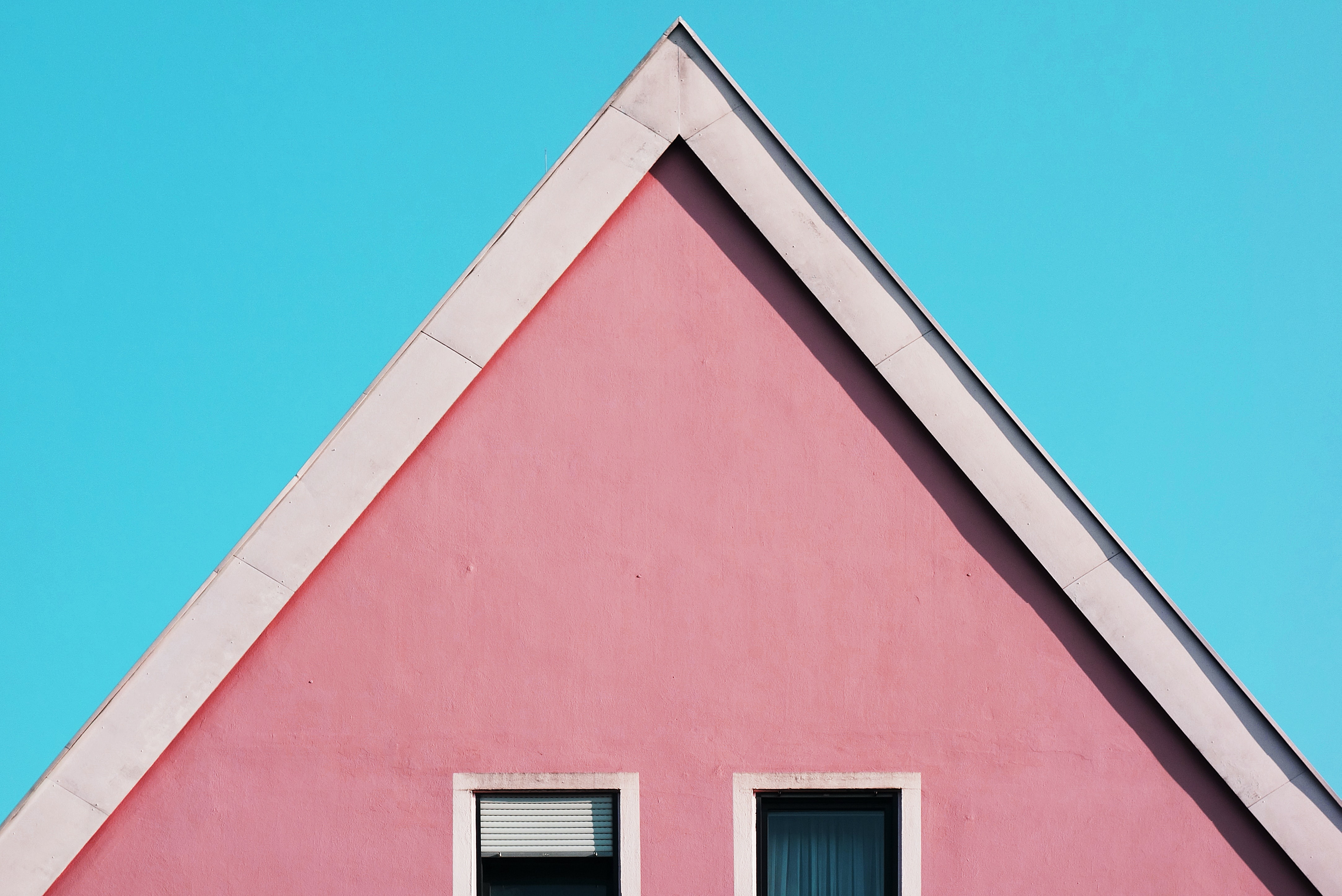 architectural photography of red house