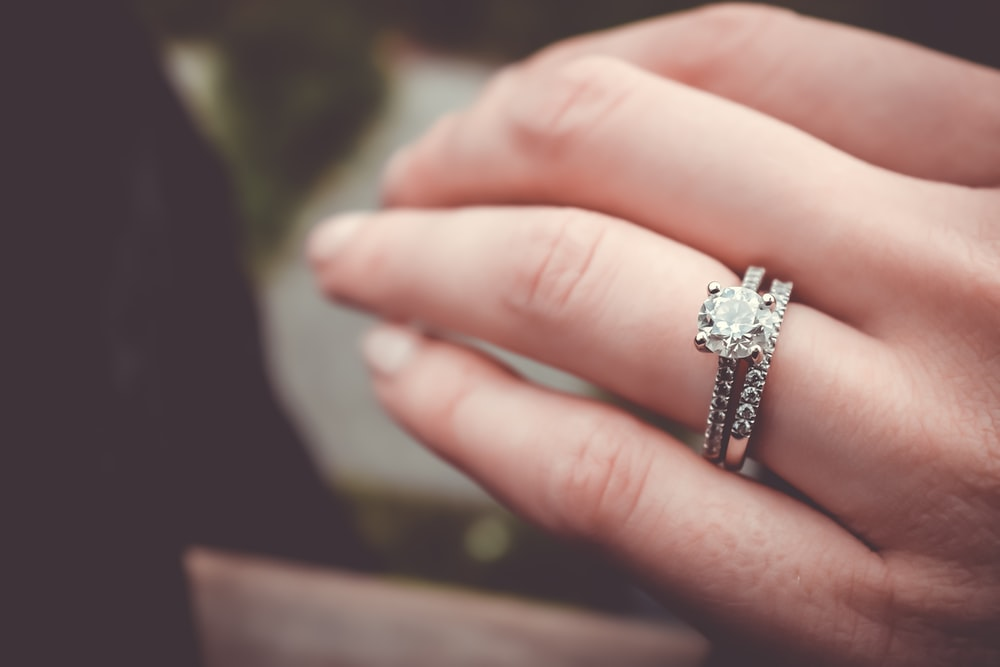 Large Engagement Ring On Hand Of Bride In Vancouver