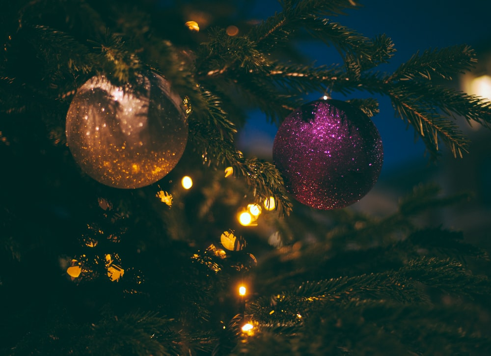 beige and purple baubles