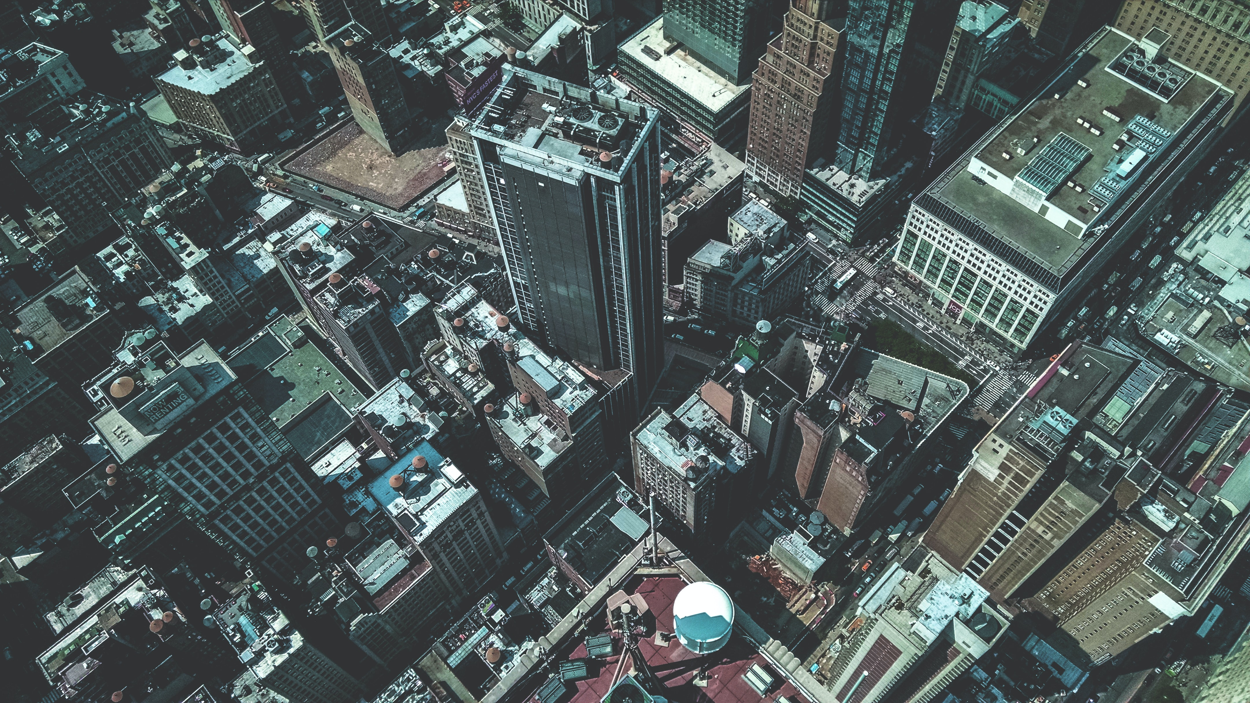Drone view of the rooftops of skyscrapers and buildings in New York City