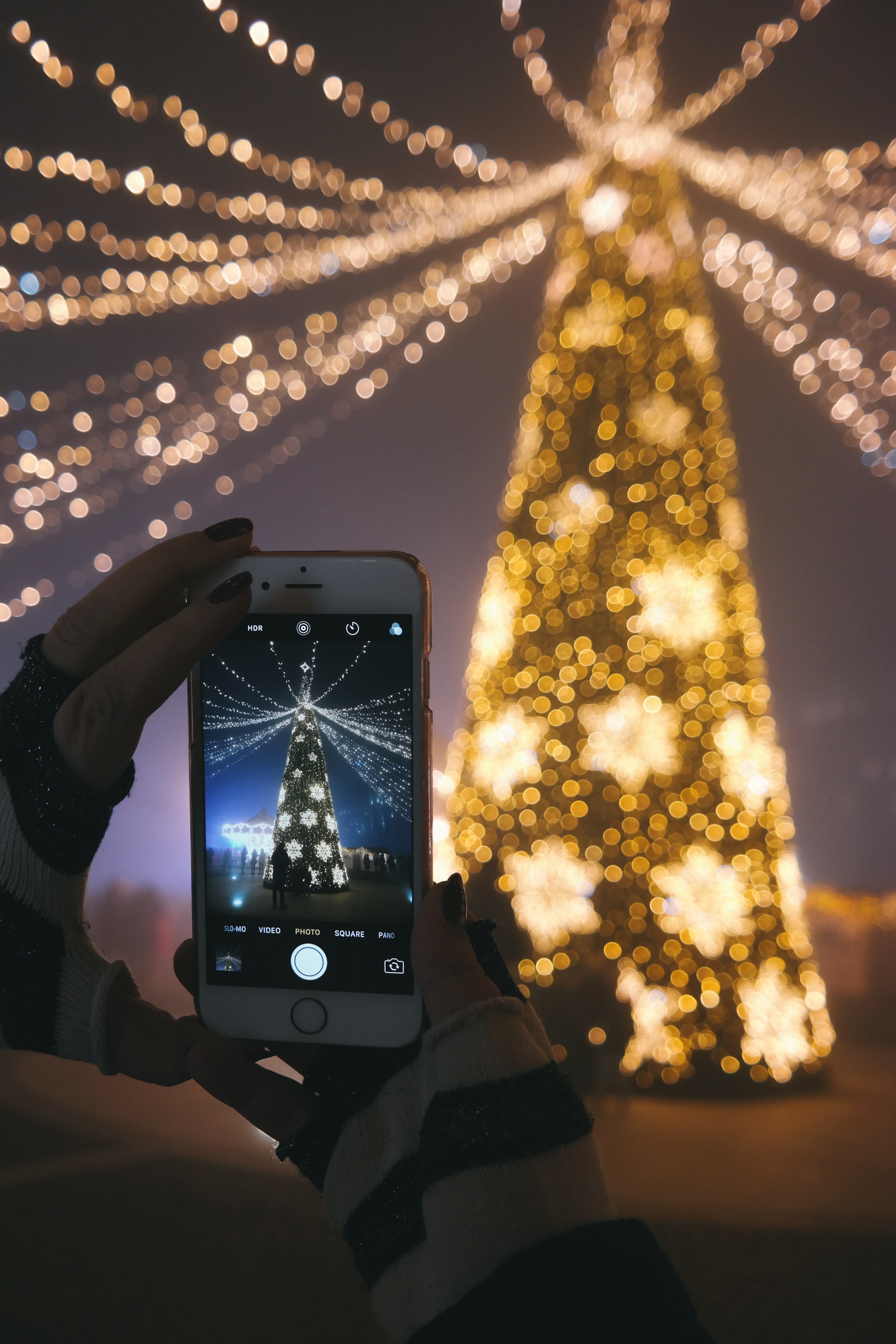 A person taking a picture of their Christmas tree with their smartphone.