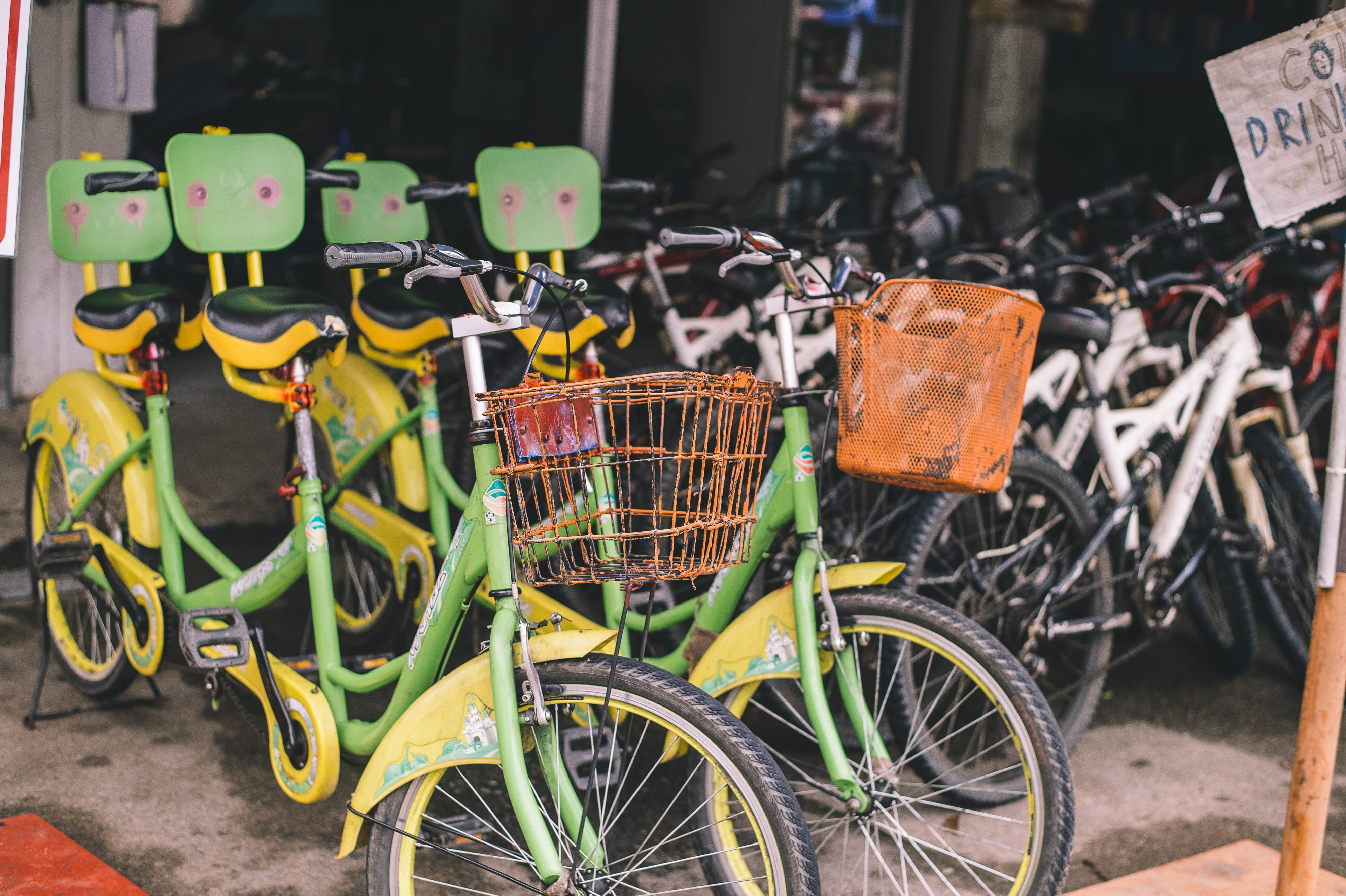 bicycle lot displaying on shop for sale