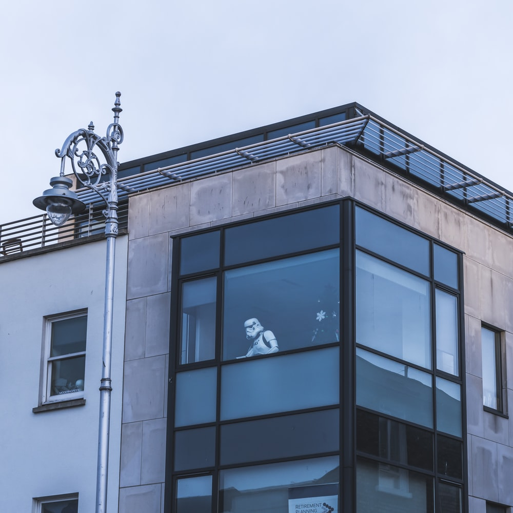 Star Wars Stormtrooper on glass window of building
