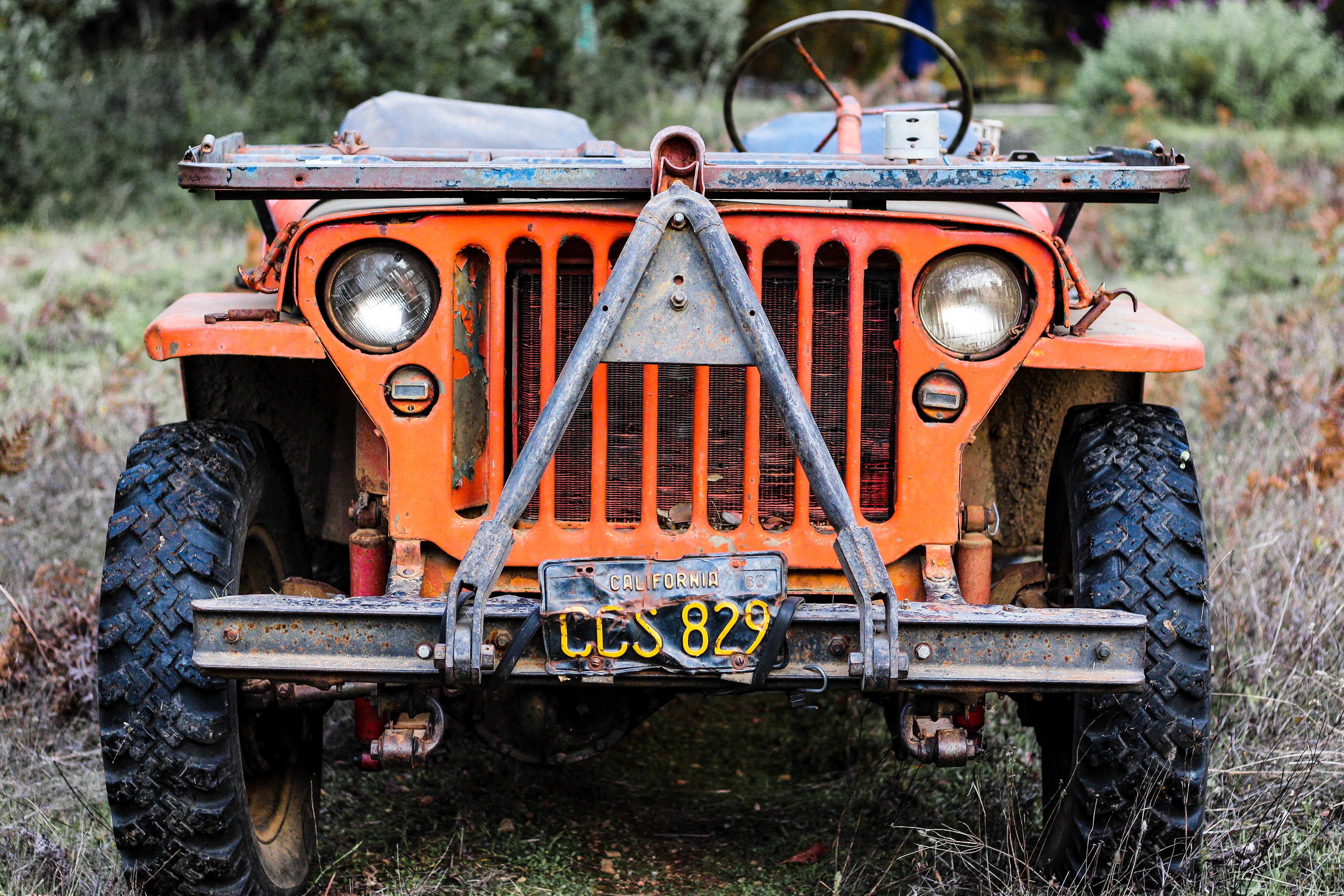 orange and blue vehicle outdoor
