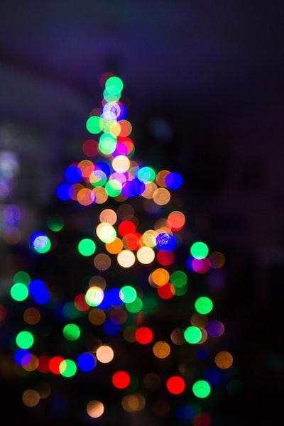 Festive Christmas lights create bokeh