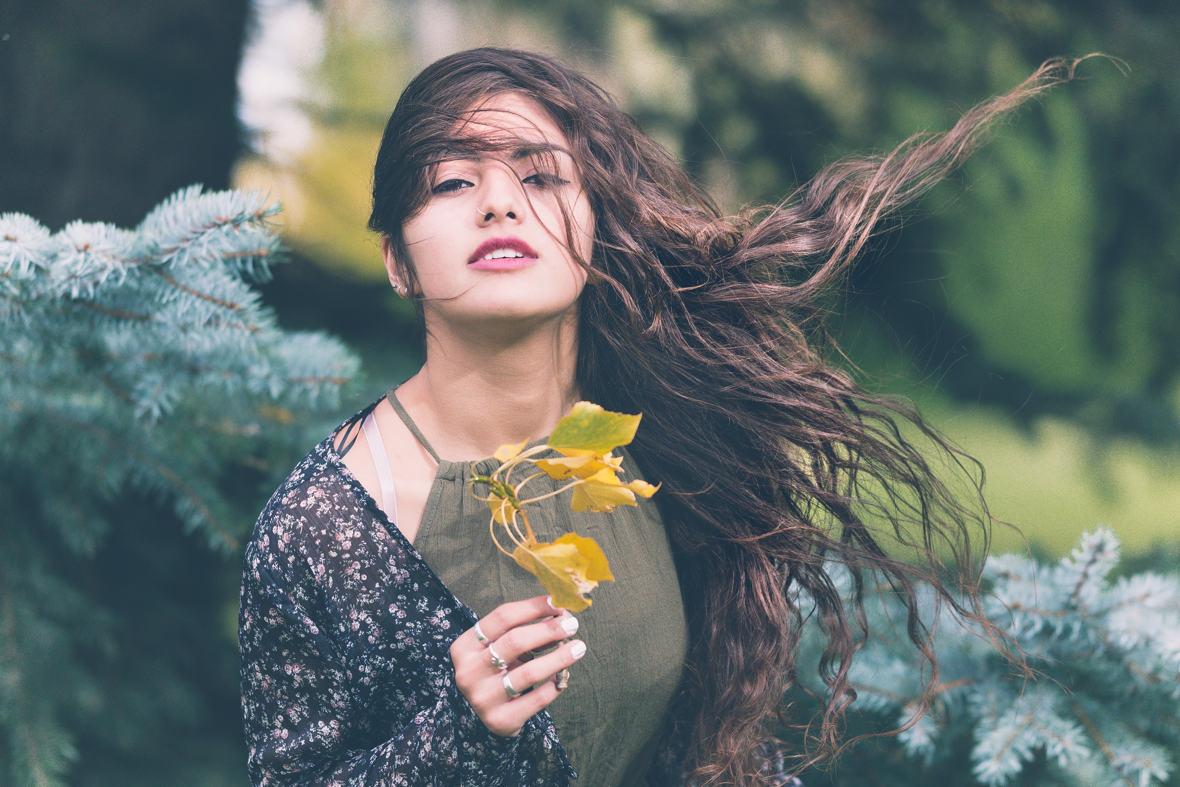 Woman with windblown hair holding a leaf near a pine tree