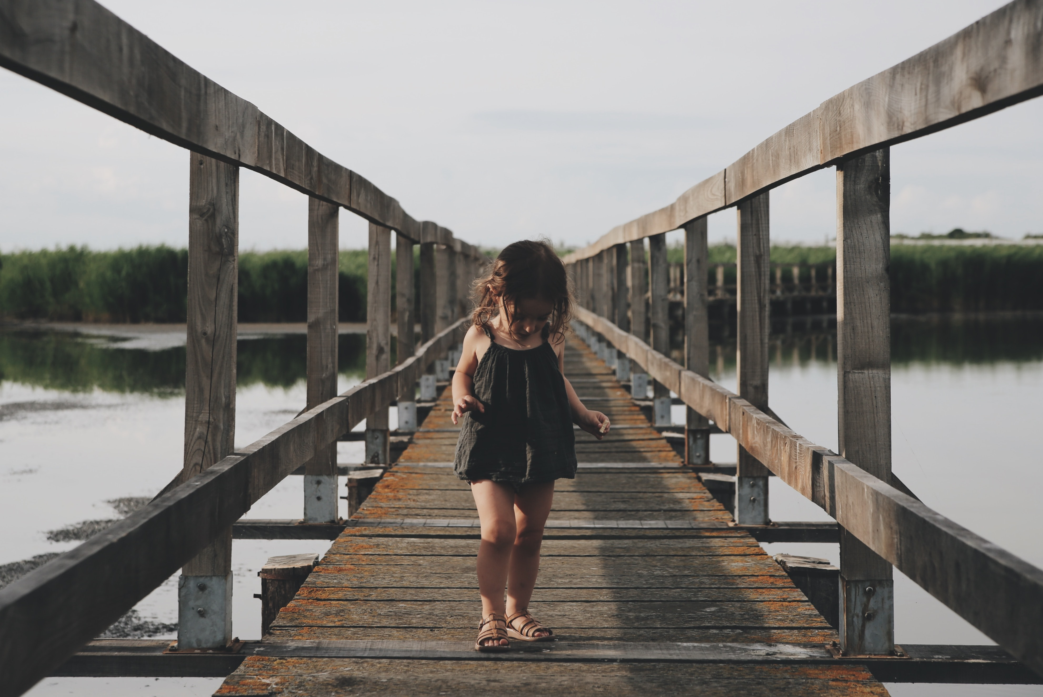 Female child walking across a wooden walkway in a Montpellier swamp