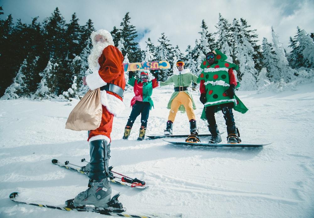 Santa Claus riding snowboard