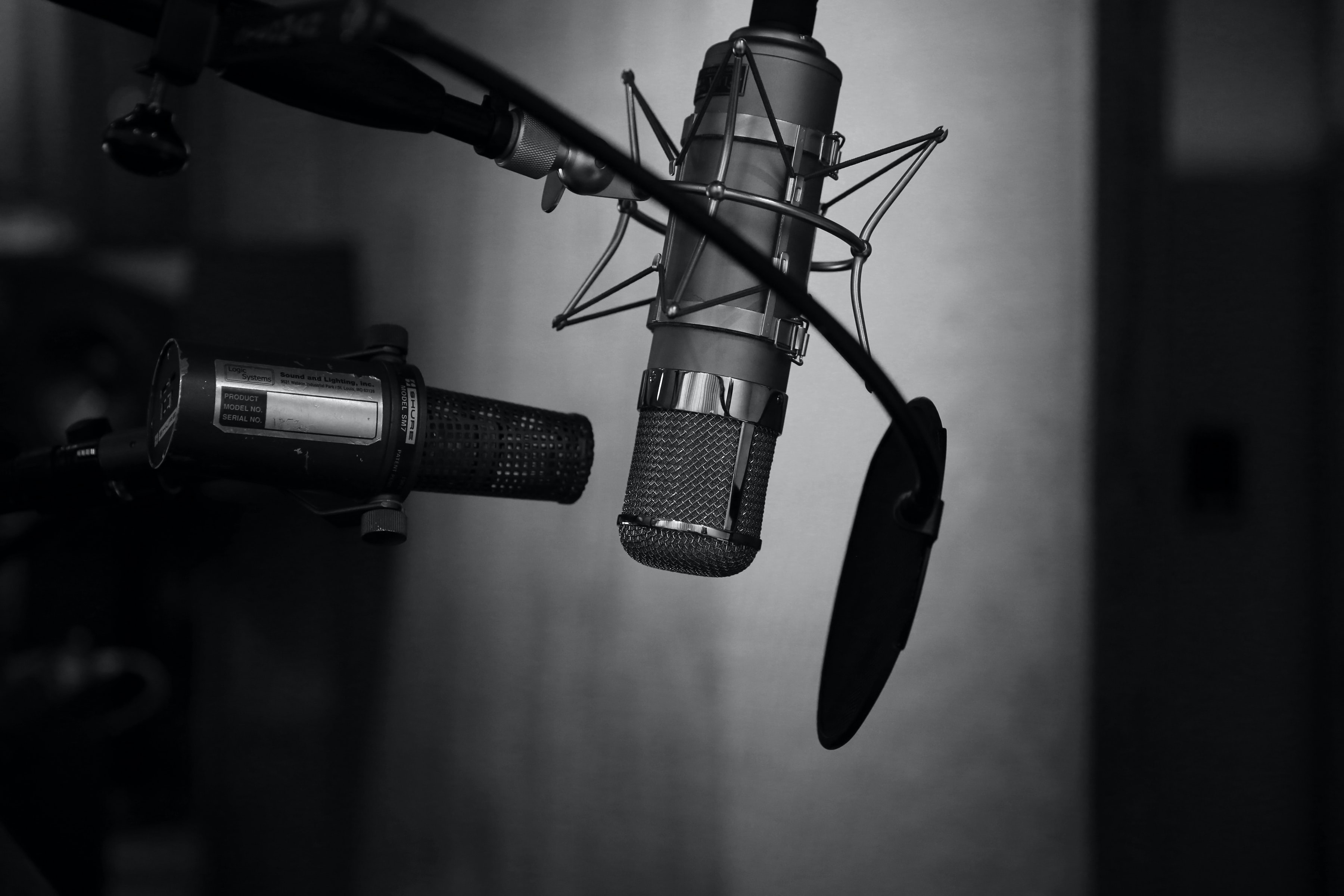 grayscale photography of condenser microphone with pop filter