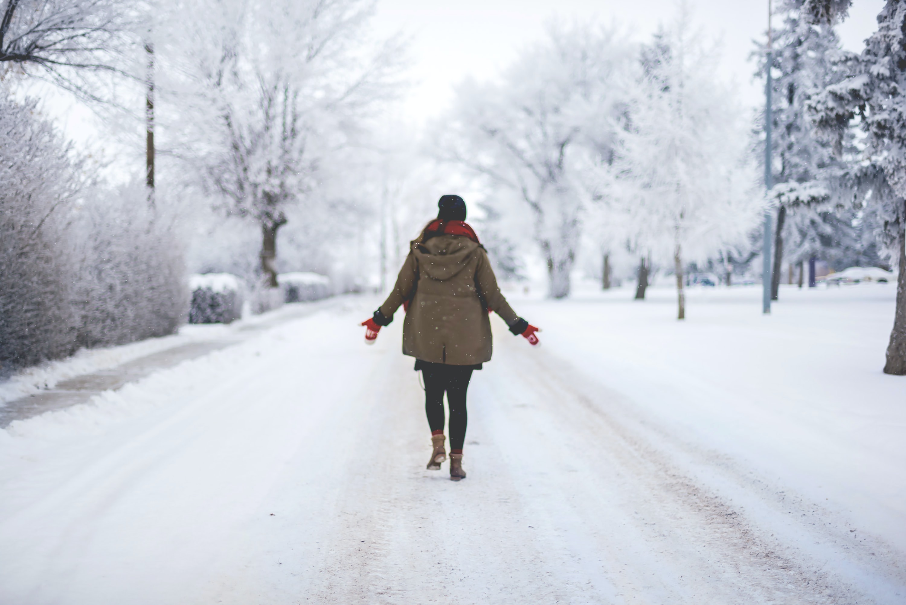 person walking on snow path