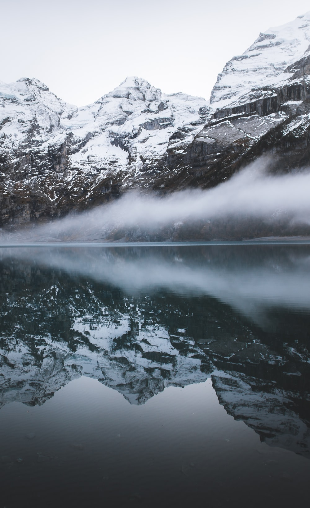 reflection photography of mountains