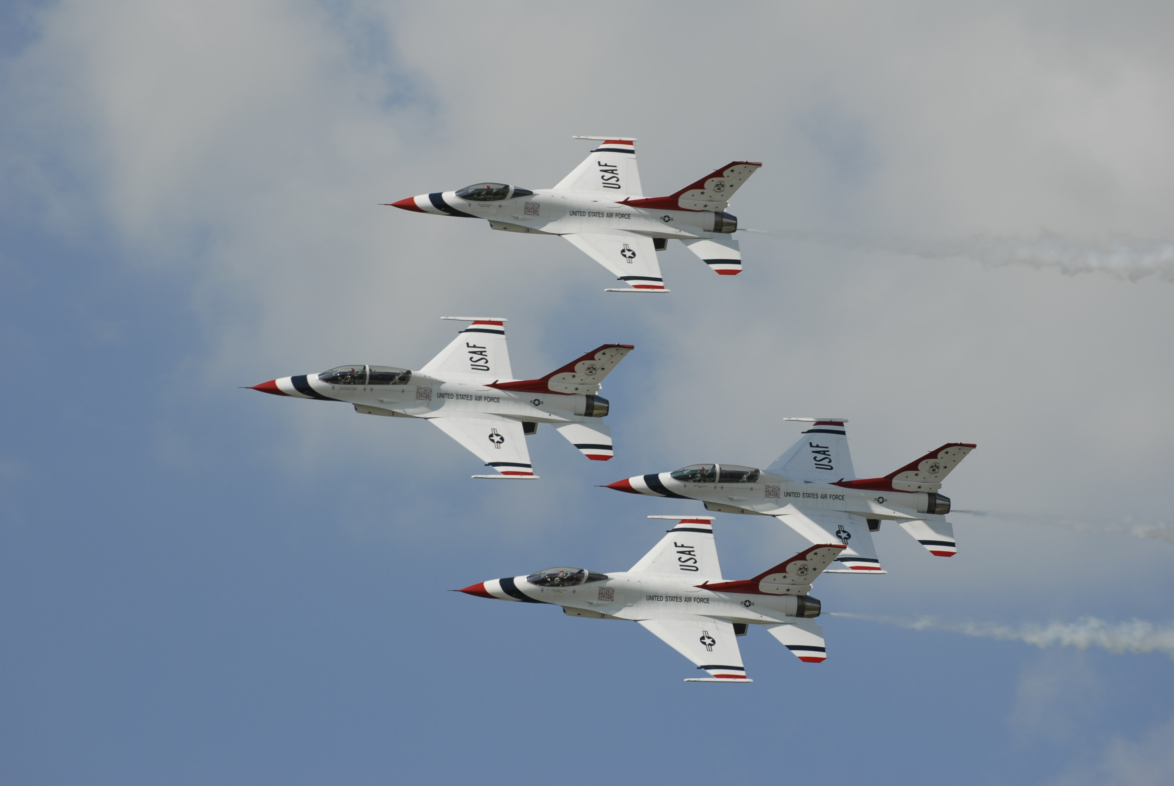 U.S. Air Force fighter jets flying in formation.
