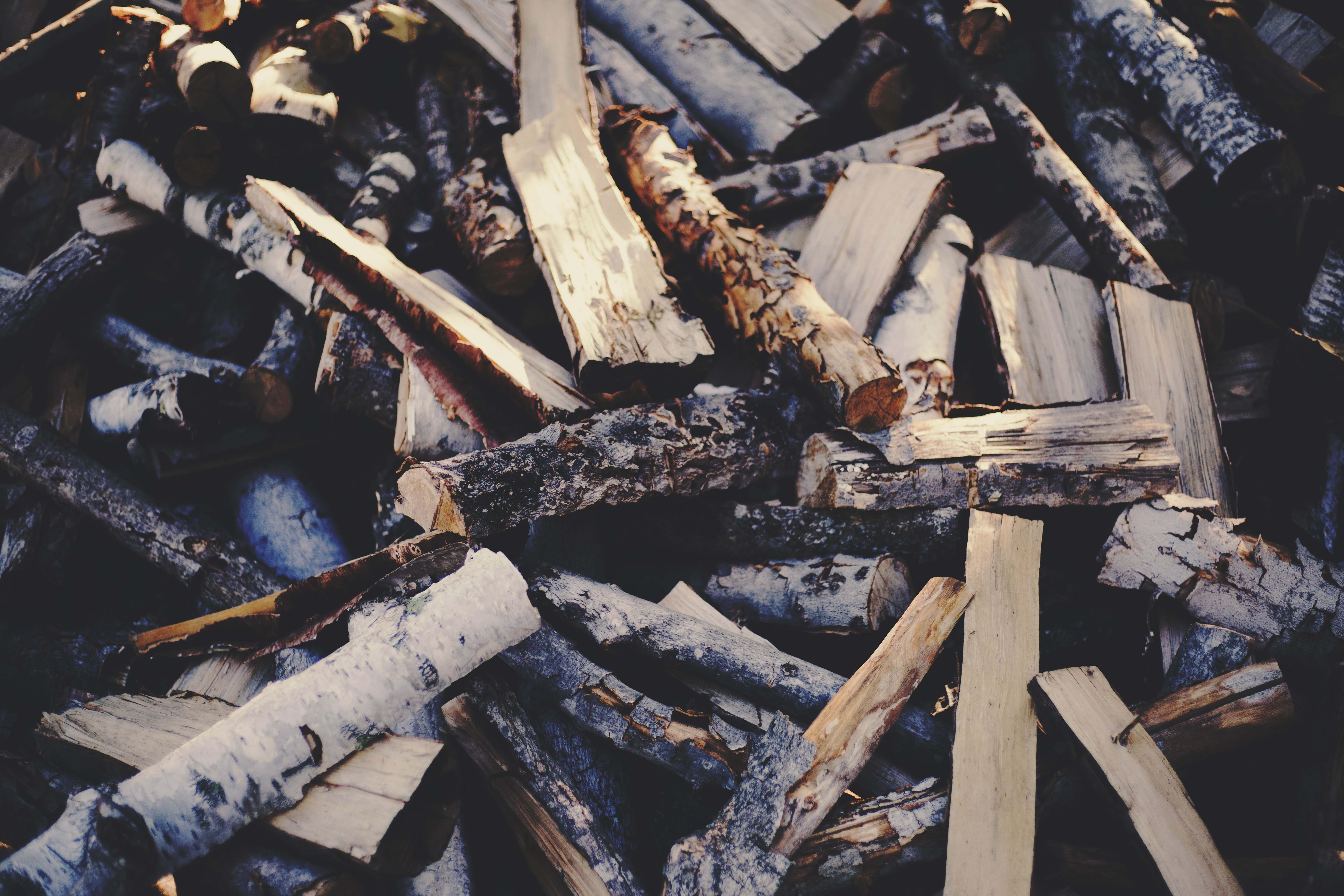 An untidy heap of firewood